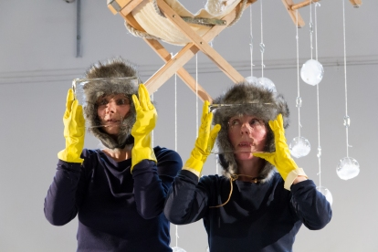 """""""civilized"""" by Catherine Egan Performers Catherine Egan and Celine Bouly 2017 Alembic Residency Artists Showcase February 23-25, 2018 Performance Works NW Photo by Chelsea Petrakis"""